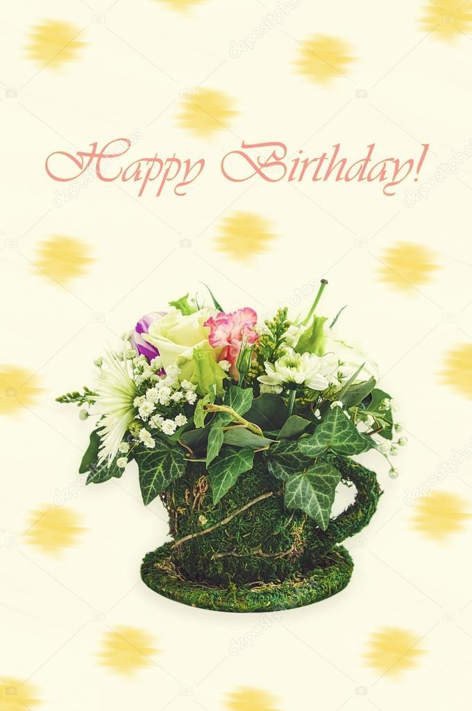 Cartolina D Auguri Di Felice Compleanno Con Fiori Foto Stock