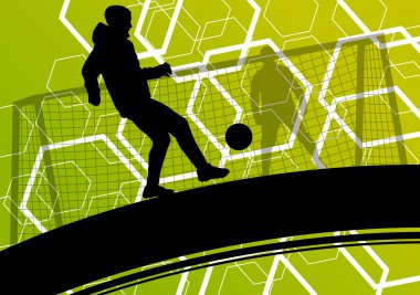 Soccer player men silhouettes with ball in active and healthy se