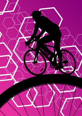Cyclist active bicycle rider in abstract sport landscape backgro