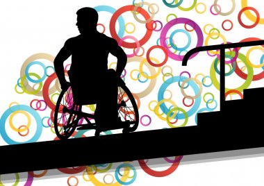 Active disabled men in a wheelchair medical health concept silho