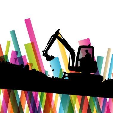 Excavator bulldozer industrial land digging machinery silhouette