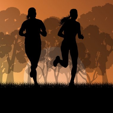 Fitness young woman runner running in forest landscape vector il