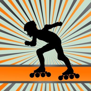Kid roller skating vector background