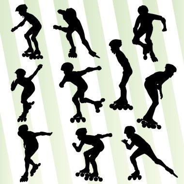 Kid roller skating vector background concept