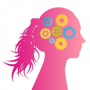Woman head silhouette and gears vector background idea concept