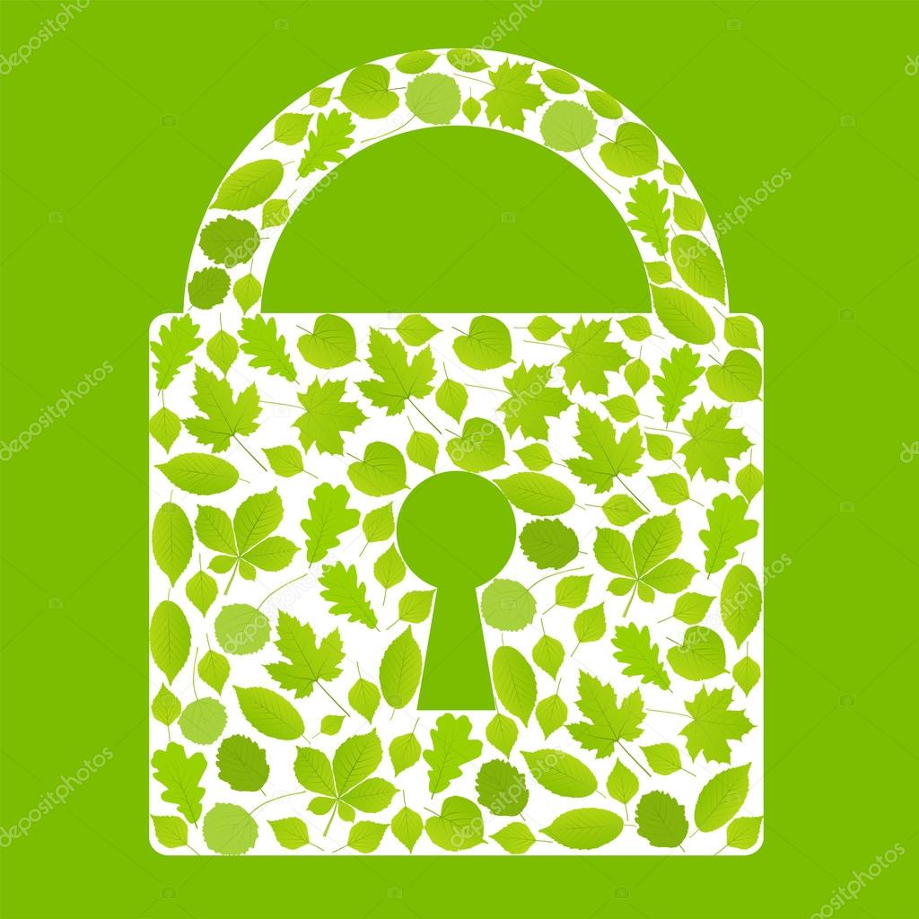 Padlock made with leaves vector ecology background