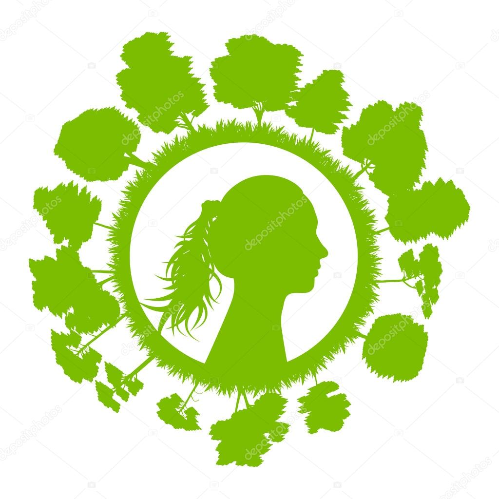 Woman head with tree green ecology concept background