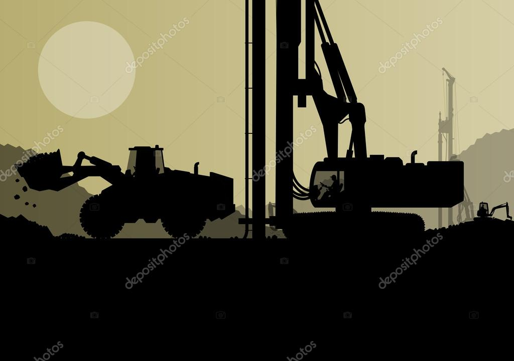 Hydraulic pile drilling machines, tractors and workers digging a