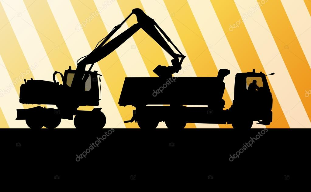 Excavator digger in action vector background concept