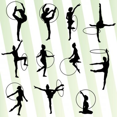Active young girl gymnasts silhouettes in acrobatics spinning ri