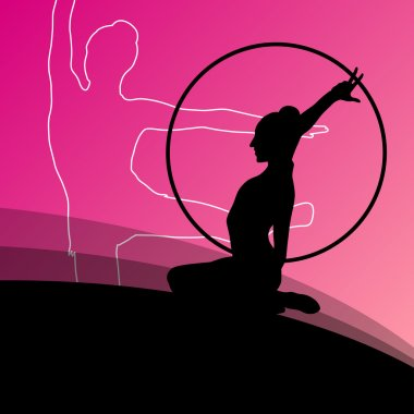 Active young girl gymnasts silhouettes in acrobatics spinning rings abstract background illustration vector clip art vector