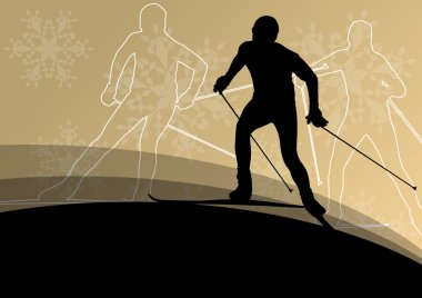 Active young men skiing sport silhouettes in winter ice and snow