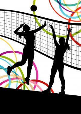 Active young women volleyball player sport silhouettes in abstra