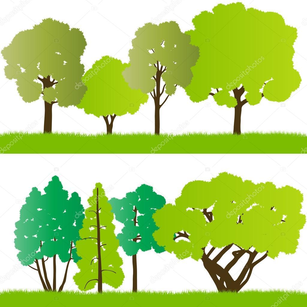 森の木のシルエット イラスト コレクション背景 vect — ストックベクター