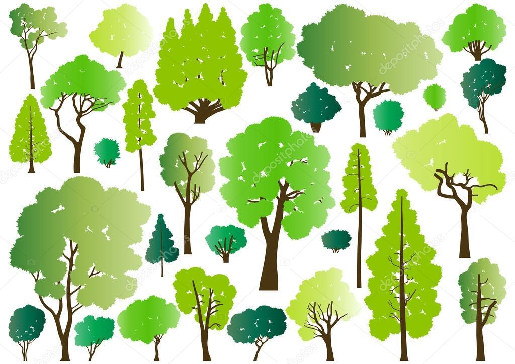 森の木のシルエット イラスト コレクション背景 Vect ストックベクター