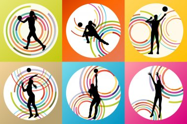 Volleyball woman player vector background set concept