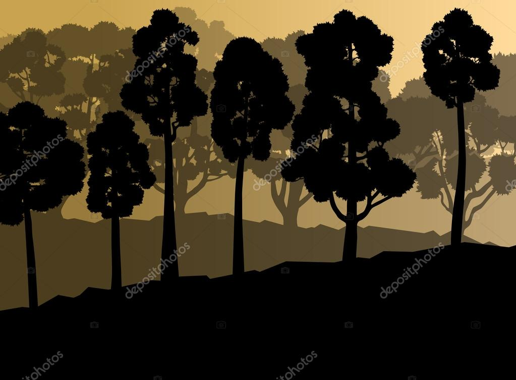 Ecology forest vector background concept with many detailed tree