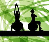Fotografie Frau auf Fitness-Ball-Übungen vector Hintergrund