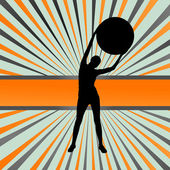 Frau auf Fitness-Ball übt Vektor-Hintergrund