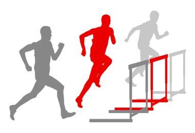 Hurdle race man barrier running vector background winner