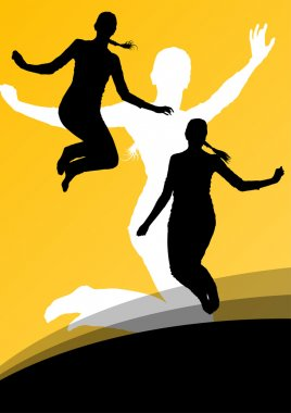 Young women active silhouettes jumping in the air abstract backg