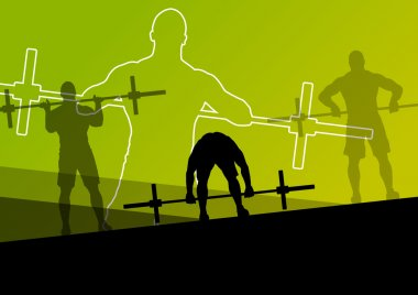 Men crossfit weight lifting sport silhouettes abstract backgroun