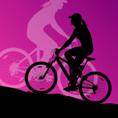Active woman cyclists bicycle riders in landscape background ill