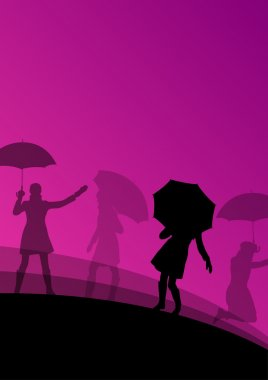 Women umbrella and raincoat silhouettes abstract seasonal outdoo