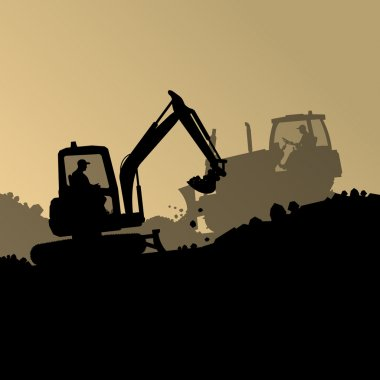 Excavator loader hydraulic machine tractor and worker digging at