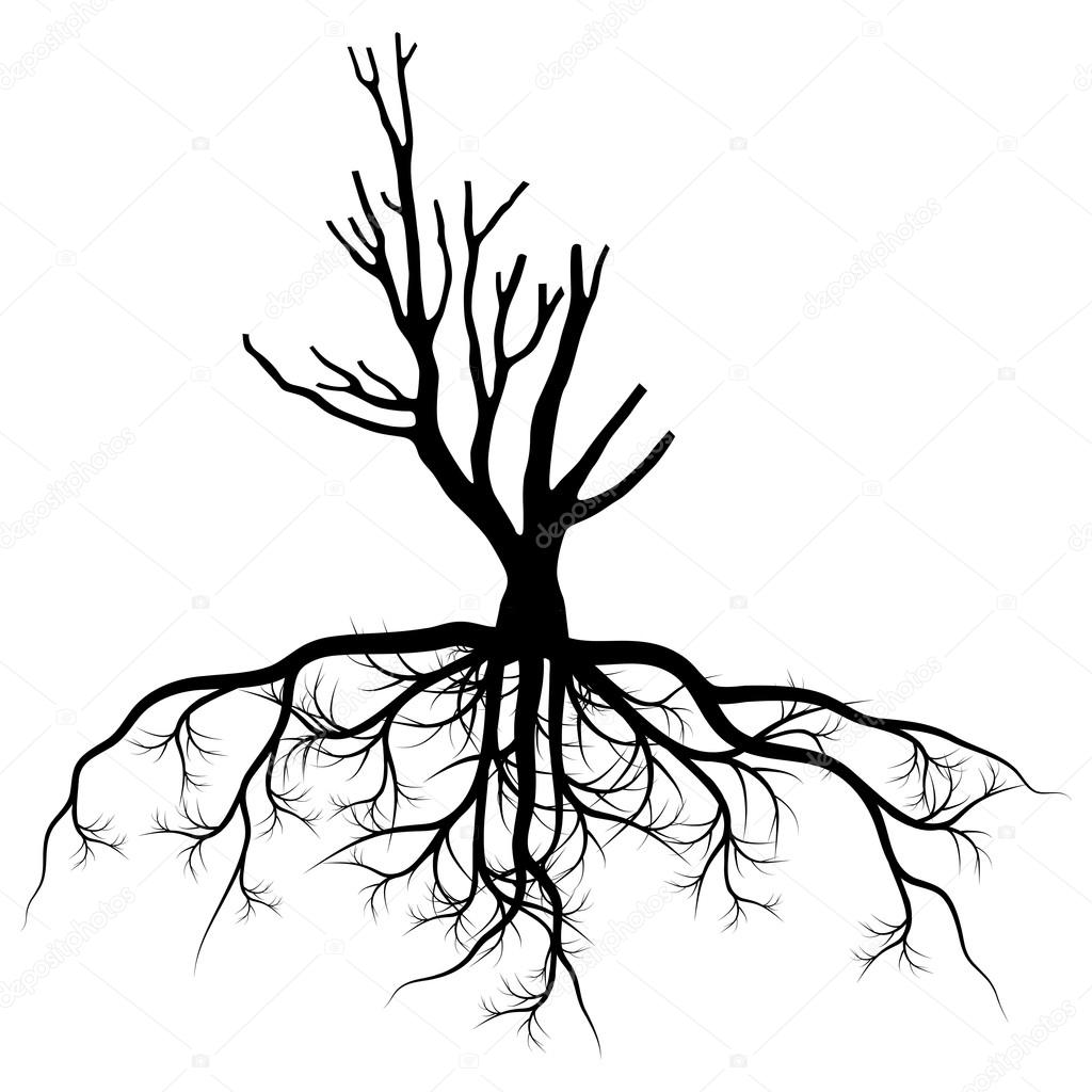 Tree with roots background vector pollution concept