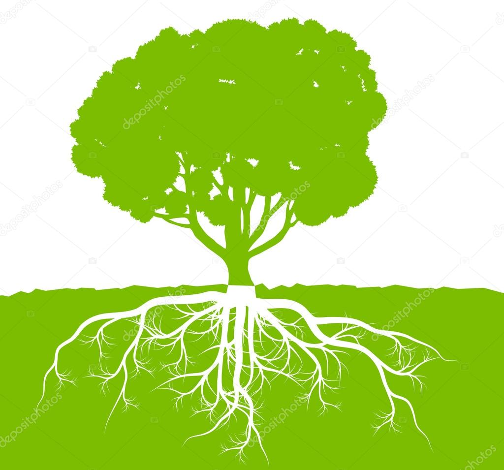 Tree with roots background ecology vector concept