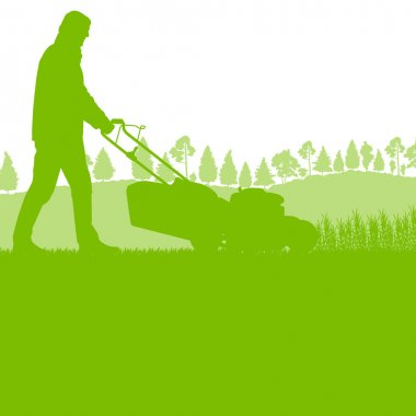Man with lawn mover cutting grass vector background ecology conc