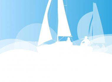 Sailing yacht race vector background transportation competition