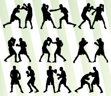 Boxing active young men box sport silhouettes set background ill
