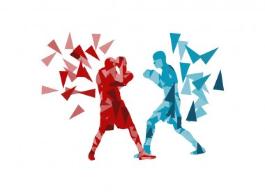 Man boxing fight facing each other in match vector background co