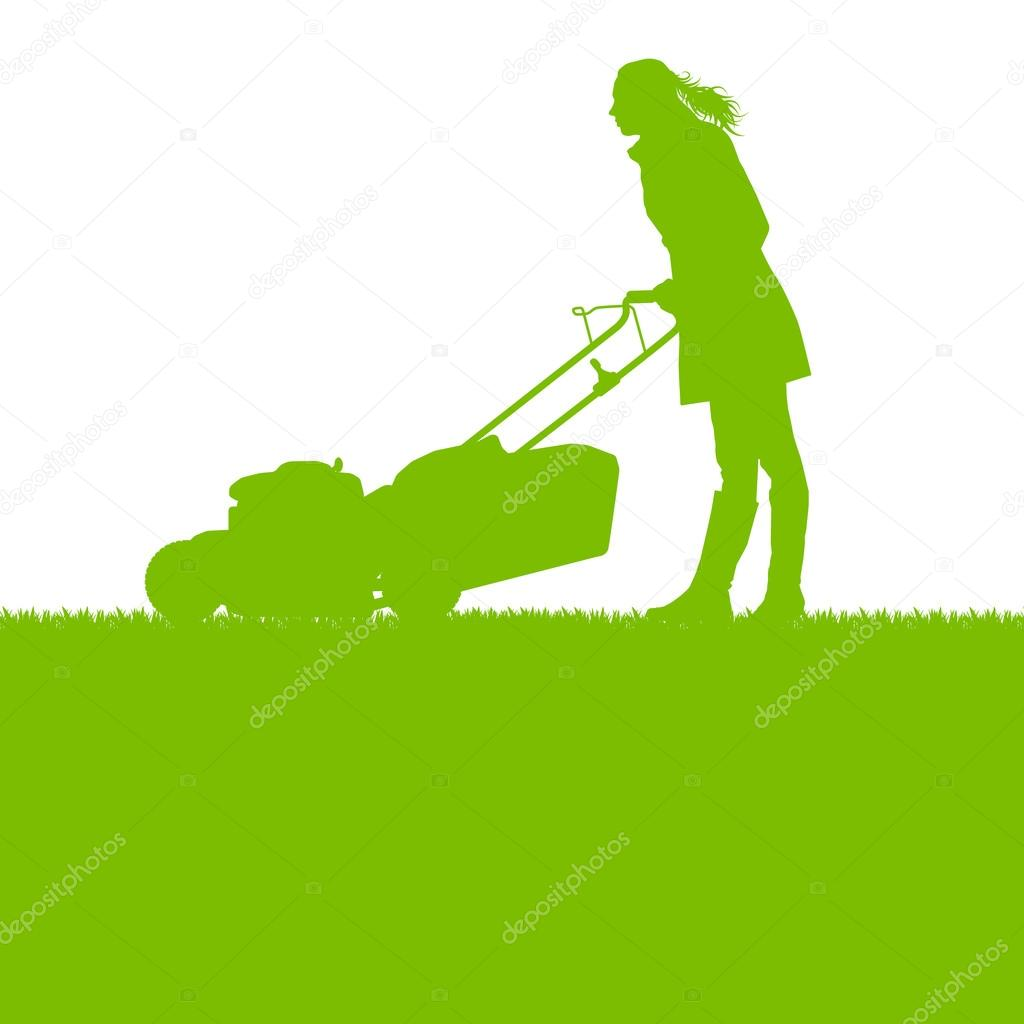 Woman with lawn mover cutting grass vector background ecology