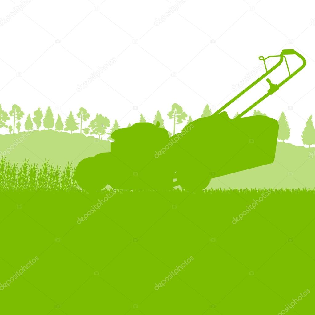 Lawn mover cutting grass vector background ecology