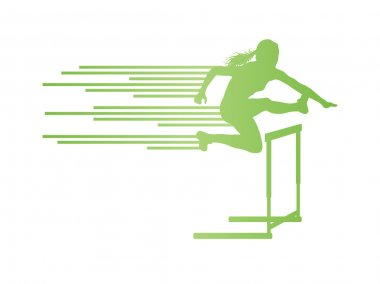 Athlete woman hurdling in track and field vector background conc
