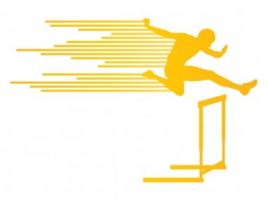 Athlete man hurdling in track and field vector background concep