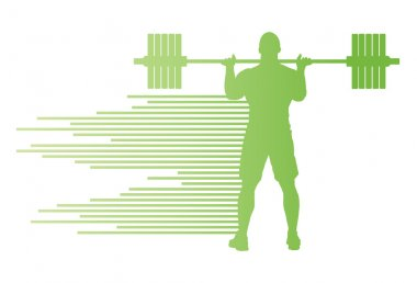 Weight lifting man abstract vector background concept