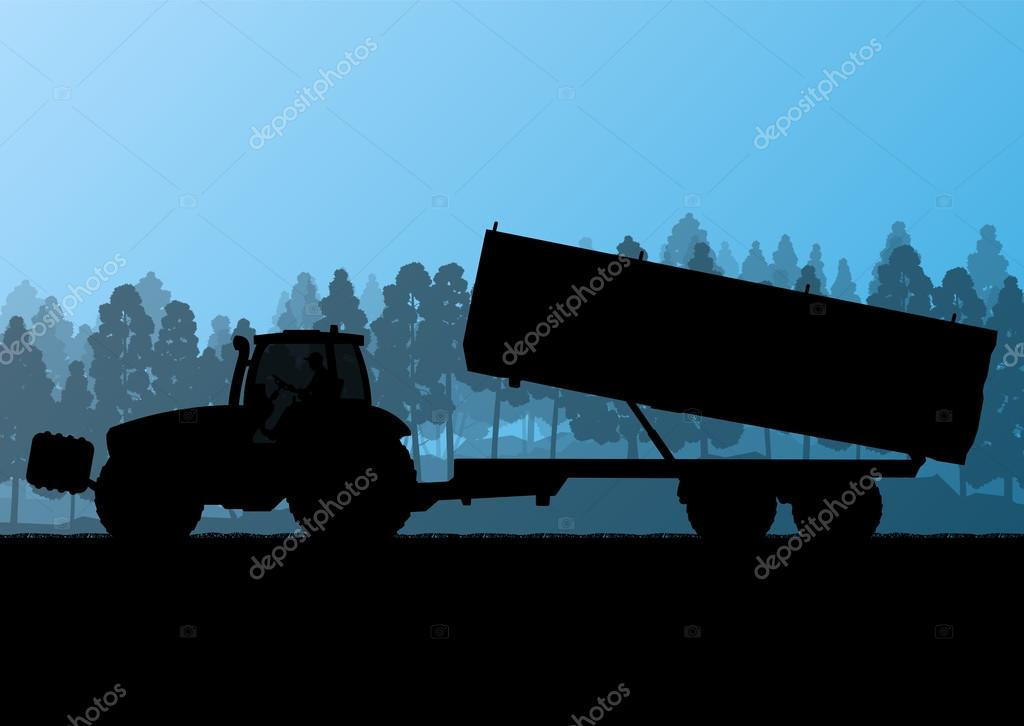 Agriculture tractor with corn trailer in cultivated country grai
