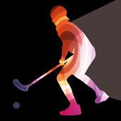 Florbalový hráč muž silueta hokej s holí a míček illus