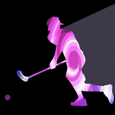 Floorball player man silhouette hockey with stick and ball illus