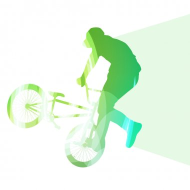 Extreme cyclists abstract bicycle rider silhouette vector backgr