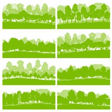 Forest trees and bushes wild nature silhouettes landscape illust