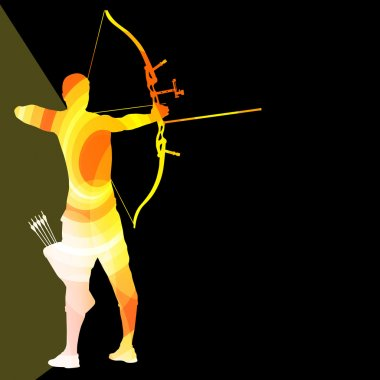 Archer training bow man silhouette illustration vector backgroun