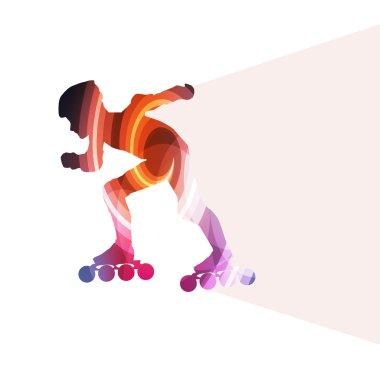 Man, teenage boy driving with inline skates, skating vector back