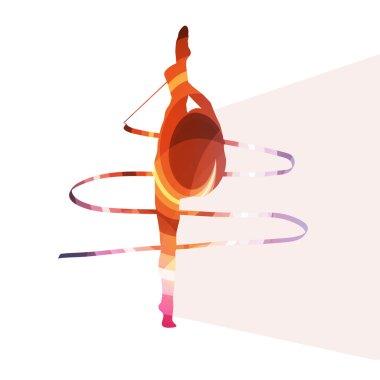 Woman art gymnastics with ribbon silhouette illustration vector