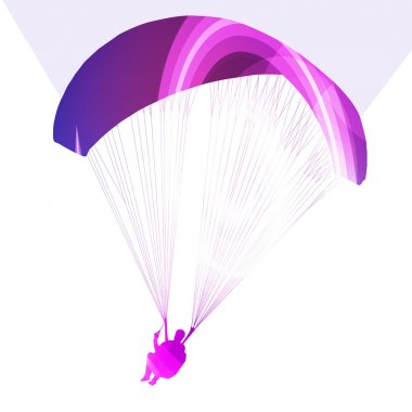 Paraglider flying silhouette illustration vector background colo