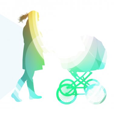Mother with baby strollers, carriage walking woman silhouette il